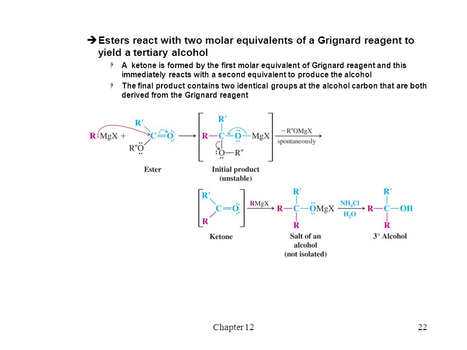 Esters react with two molar equivalents of a Grignard reagent to yield a tertiary alcohol