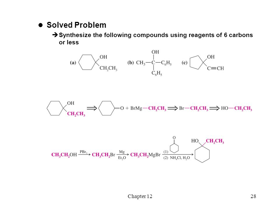 Solved Problem Synthesize the following compounds using reagents of 6 carbons or less Chapter 12