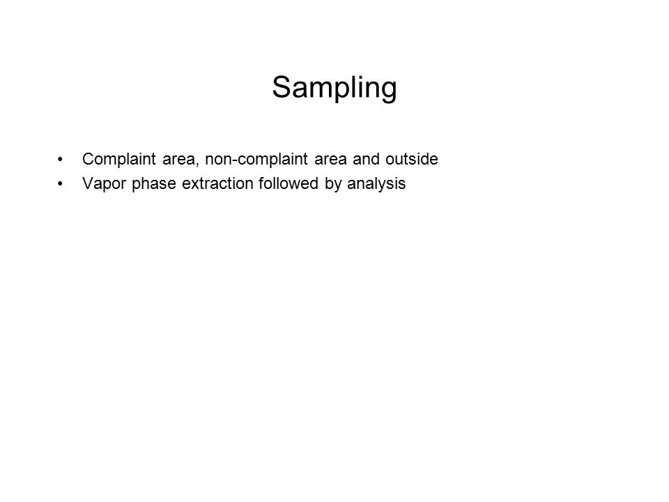 Sampling Complaint area, non-complaint area and outside
