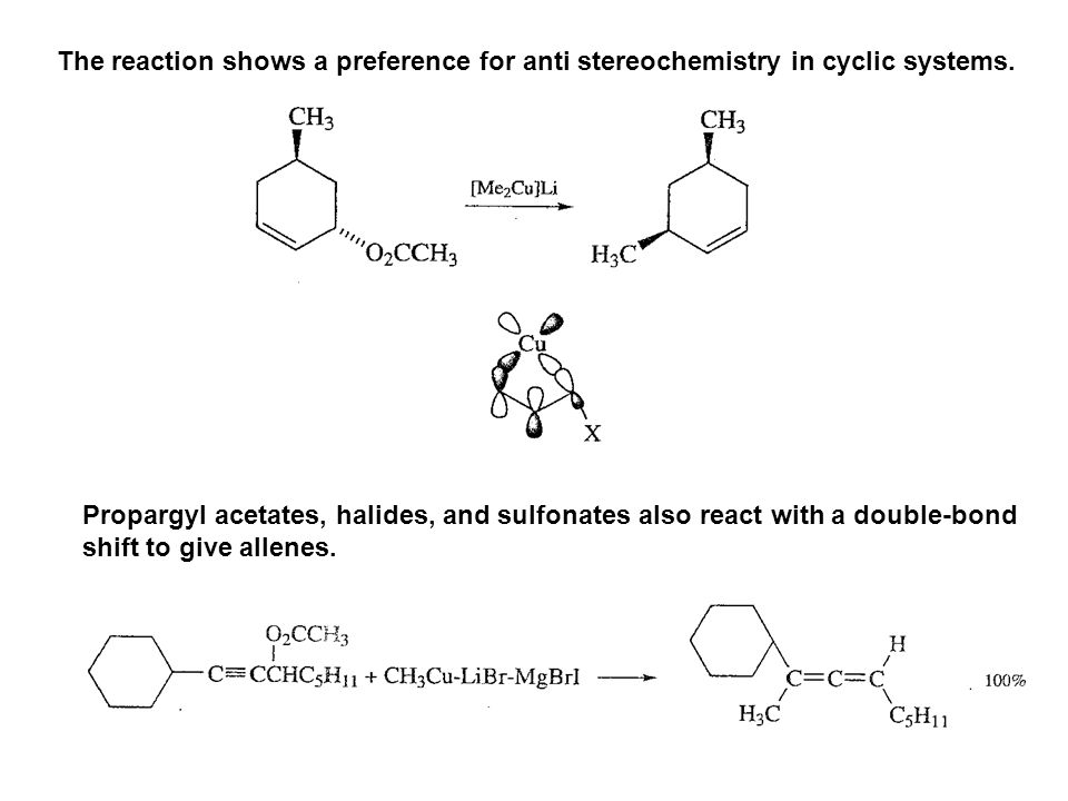 The reaction shows a preference for anti stereochemistry in cyclic systems.