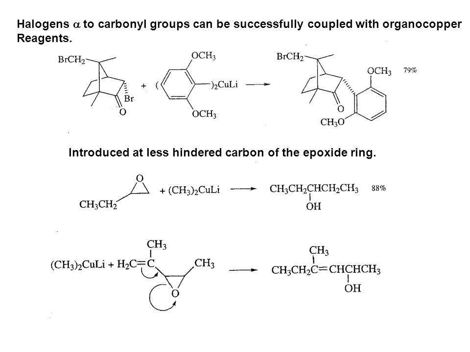 Halogens a to carbonyl groups can be successfully coupled with organocopper