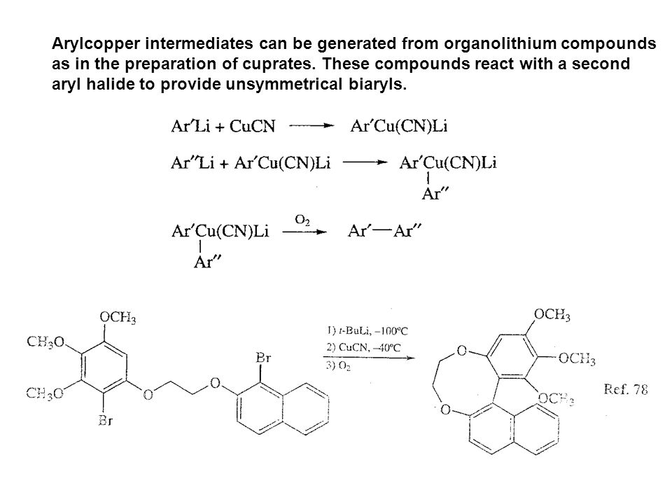 Arylcopper intermediates can be generated from organolithium compounds