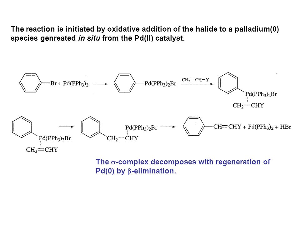 The reaction is initiated by oxidative addition of the halide to a palladium(0)