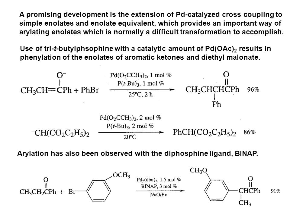 A promising development is the extension of Pd-catalyzed cross coupling to