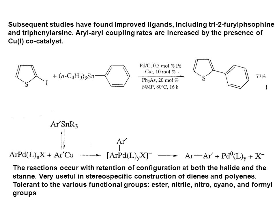 Subsequent studies have found improved ligands, including tri-2-furylphsophine