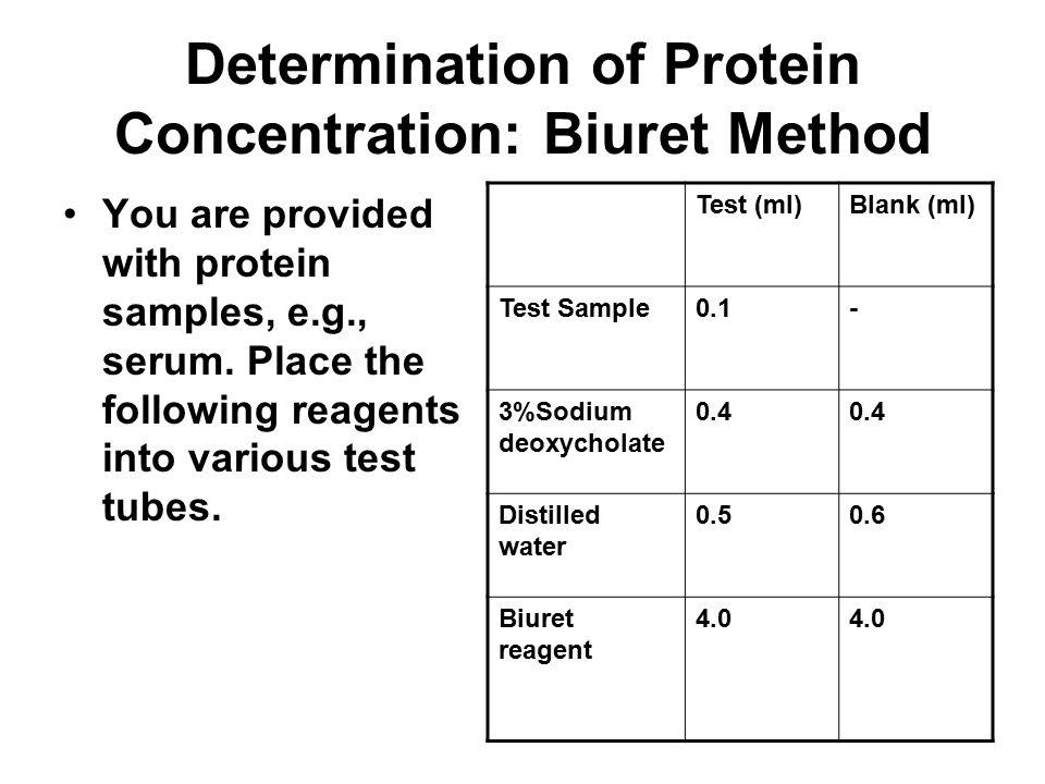 Determination of Protein Concentration: Biuret Method
