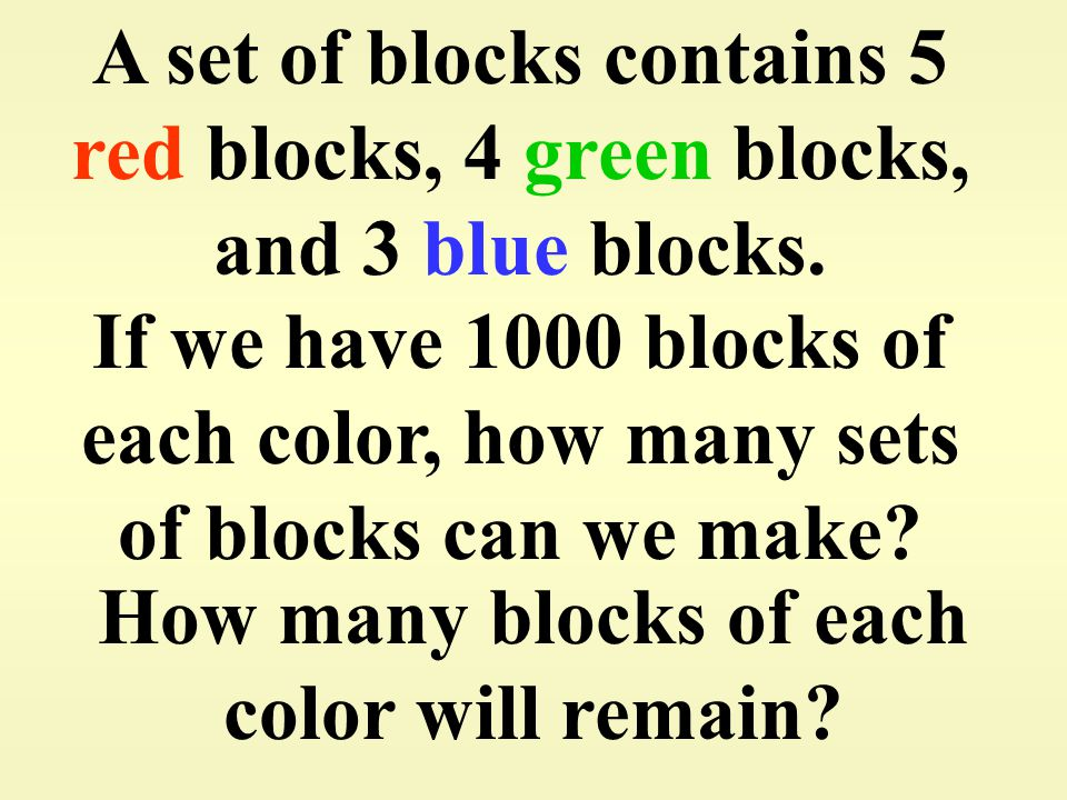 How many blocks of each color will remain