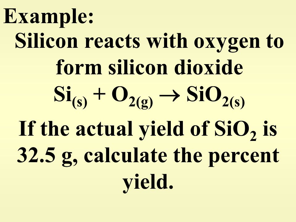 If the actual yield of SiO2 is 32.5 g, calculate the percent yield.