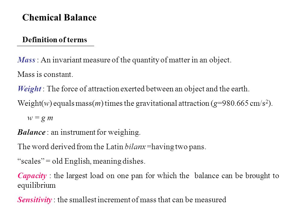 Chemical Balance Definition of terms