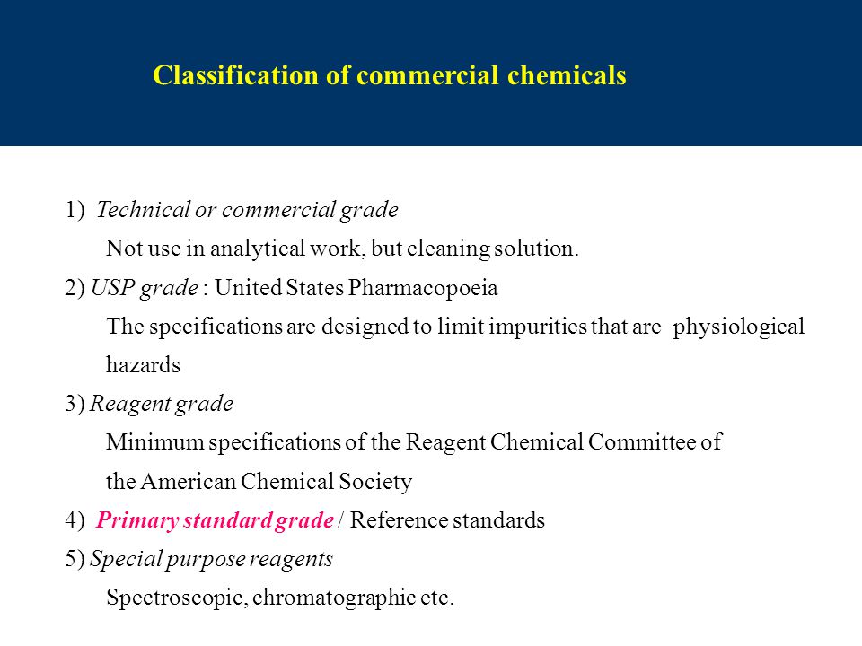 Classification of commercial chemicals