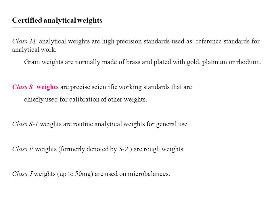 Certified analytical weights
