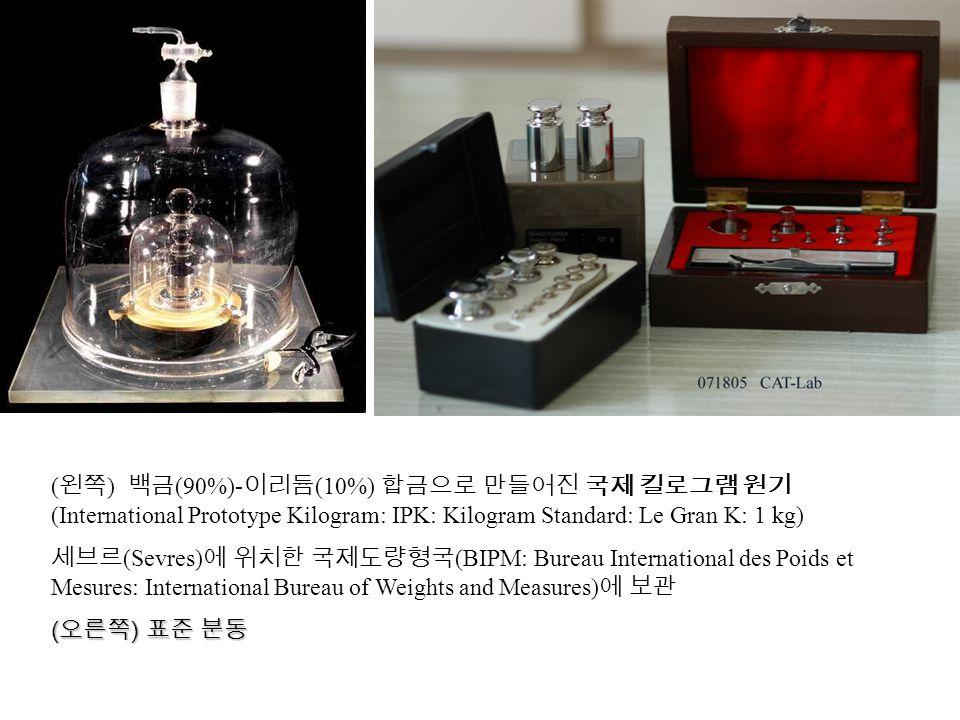 (왼쪽) 백금(90%)-이리듐(10%) 합금으로 만들어진 국제 킬로그램 원기(International Prototype Kilogram: IPK: Kilogram Standard: Le Gran K: 1 kg)