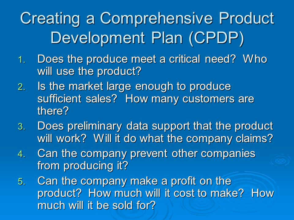 Creating a Comprehensive Product Development Plan (CPDP)
