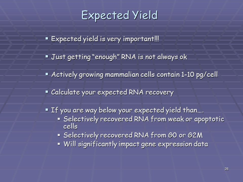Expected Yield Expected yield is very important!!!