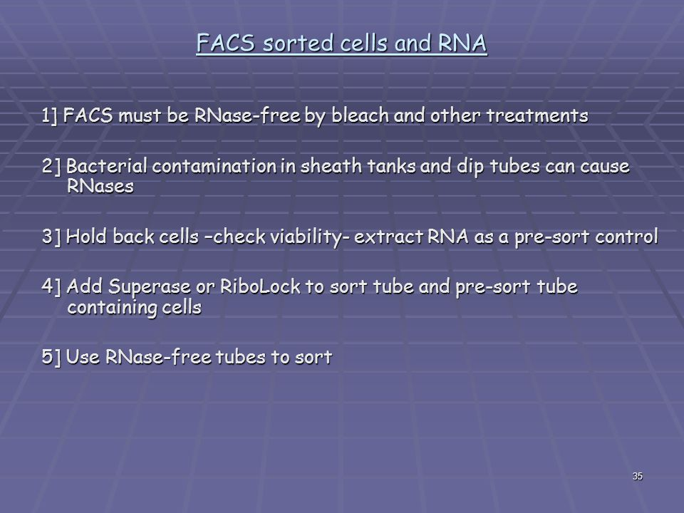 FACS sorted cells and RNA