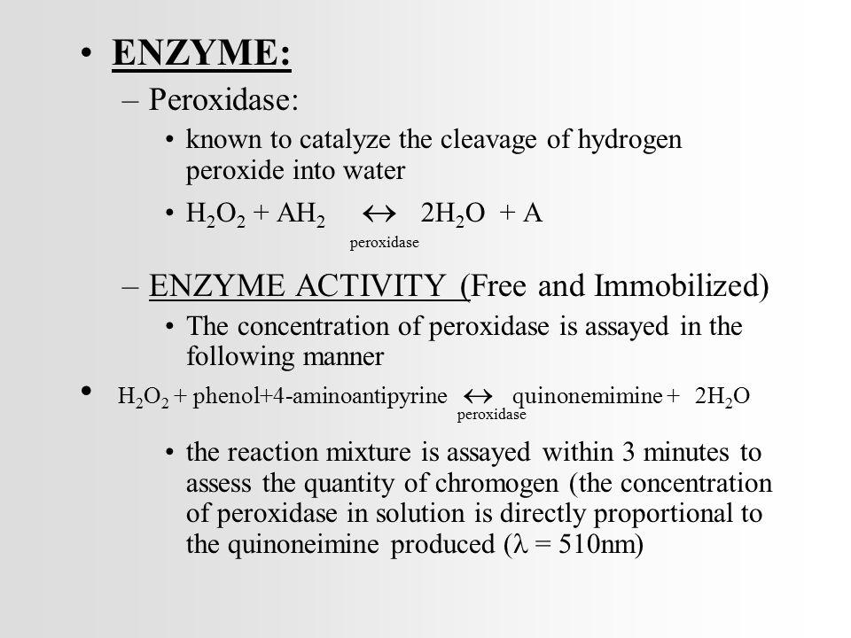 H2O2 + phenol+4-aminoantipyrine  quinonemimine + 2H2O
