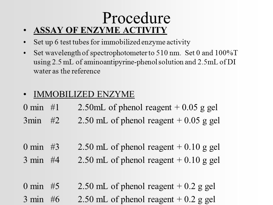 Procedure ASSAY OF ENZYME ACTIVITY IMMOBILIZED ENZYME