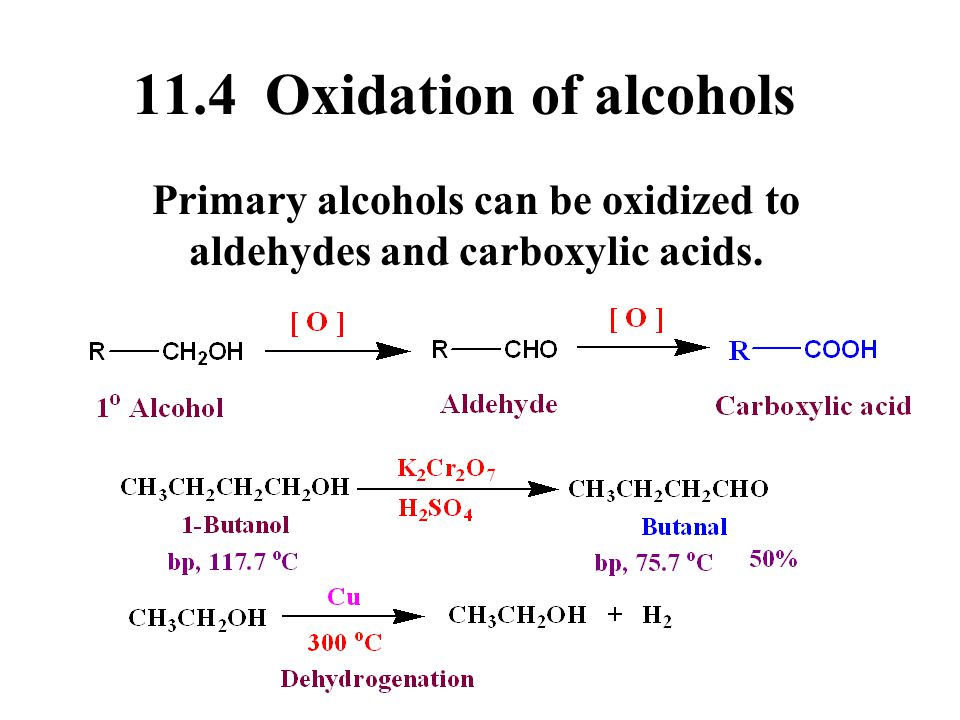Primary alcohols can be oxidized to aldehydes and carboxylic acids.
