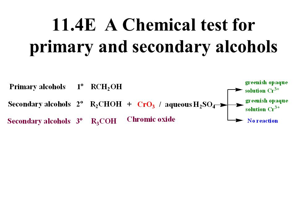 11.4E A Chemical test for primary and secondary alcohols