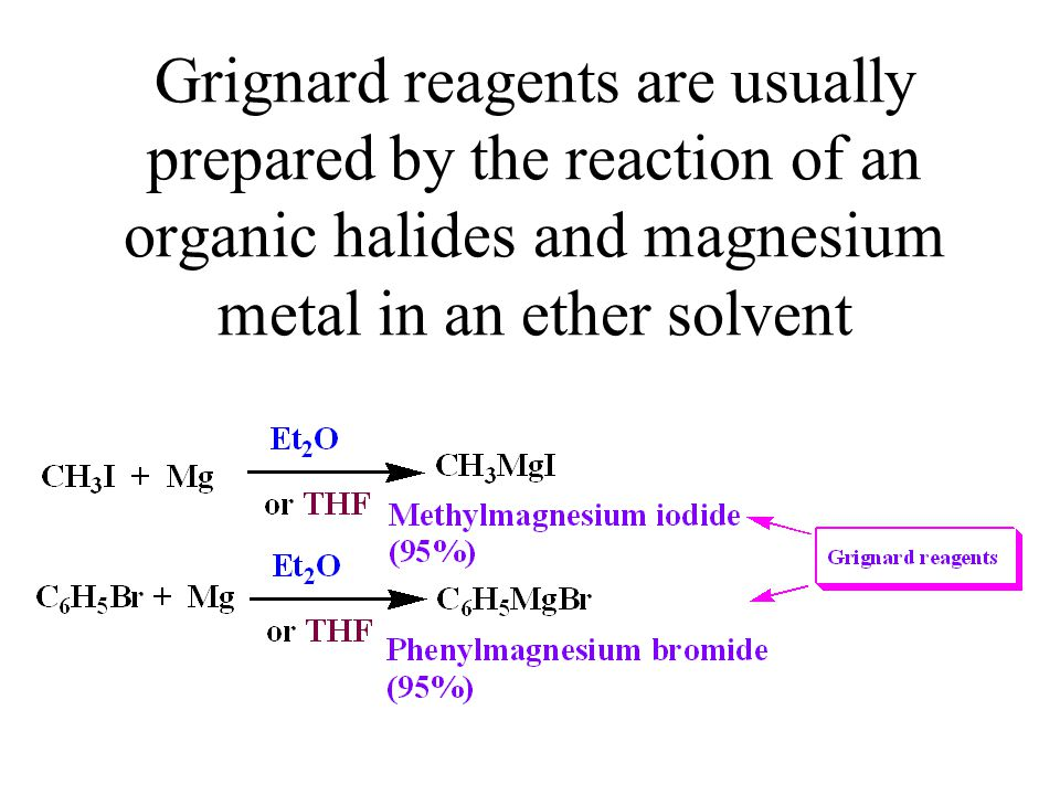Grignard reagents are usually prepared by the reaction of an organic halides and magnesium metal in an ether solvent