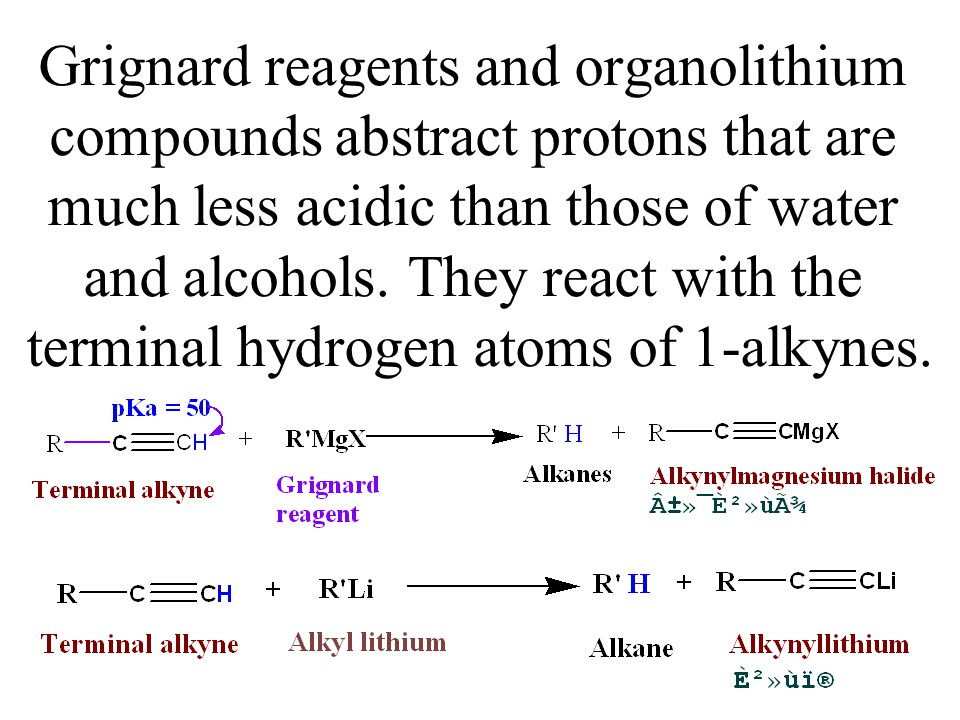 Grignard reagents and organolithium compounds abstract protons that are much less acidic than those of water and alcohols.
