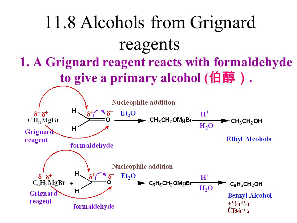 11.8 Alcohols from Grignard reagents