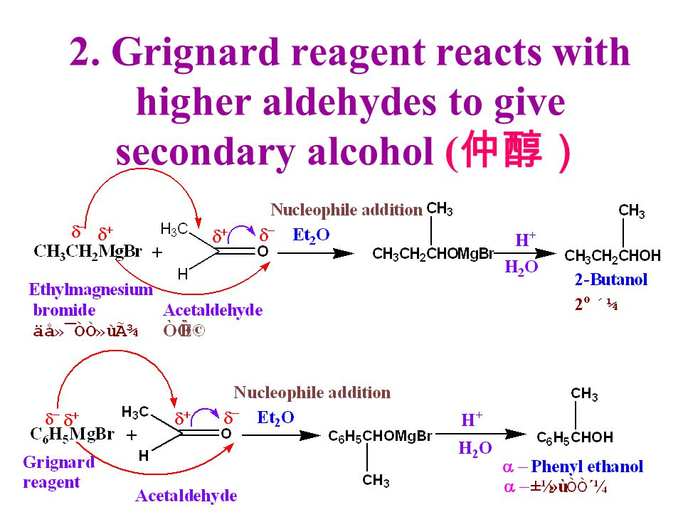 2. Grignard reagent reacts with higher aldehydes to give secondary alcohol (仲醇)