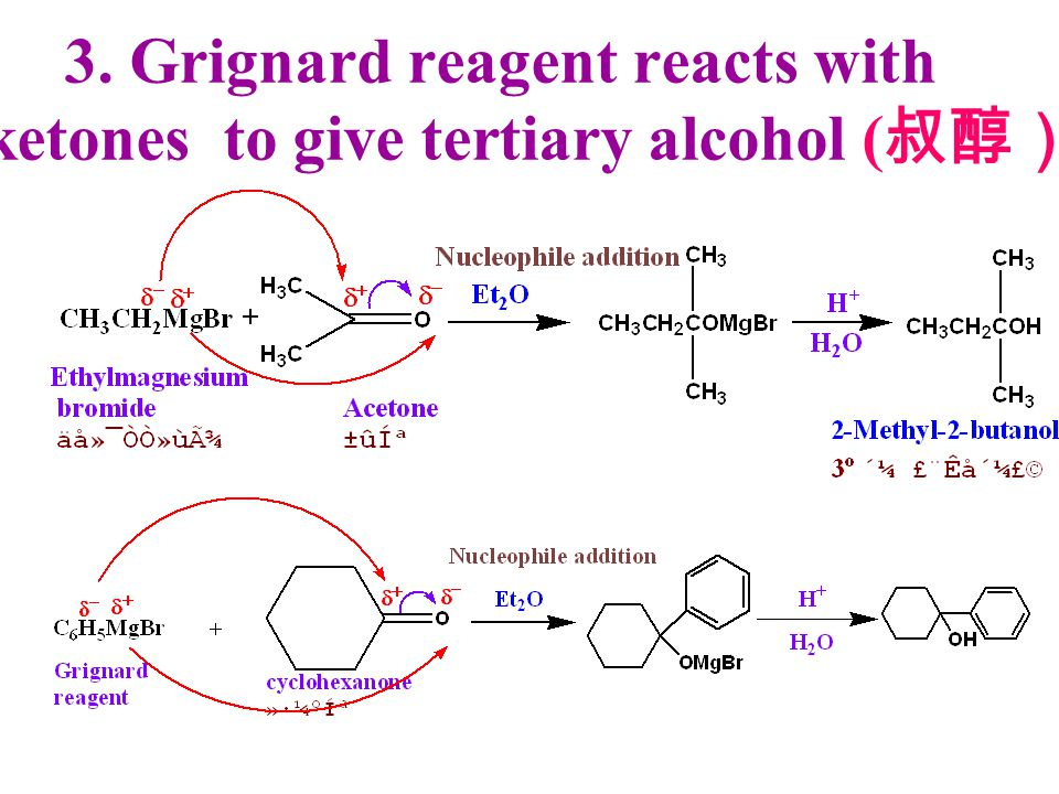 3. Grignard reagent reacts with ketones to give tertiary alcohol (叔醇)