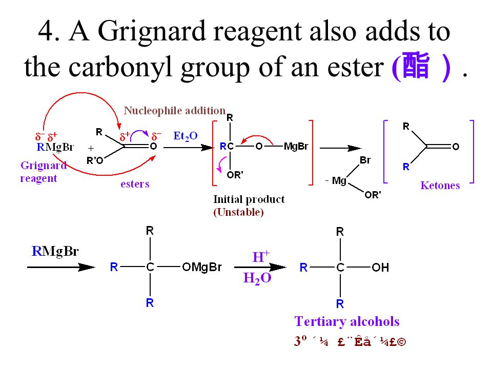 4. A Grignard reagent also adds to the carbonyl group of an ester (酯).