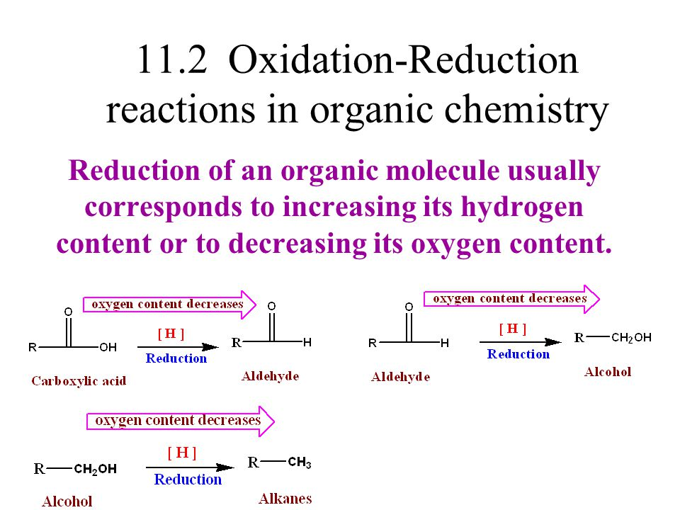 11.2 Oxidation-Reduction reactions in organic chemistry