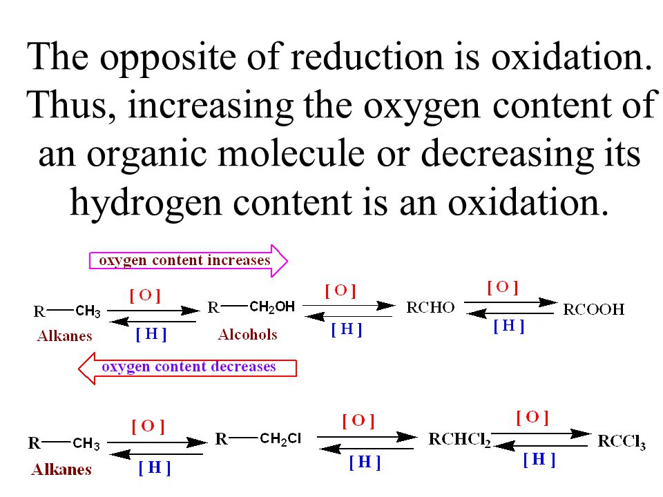 The opposite of reduction is oxidation