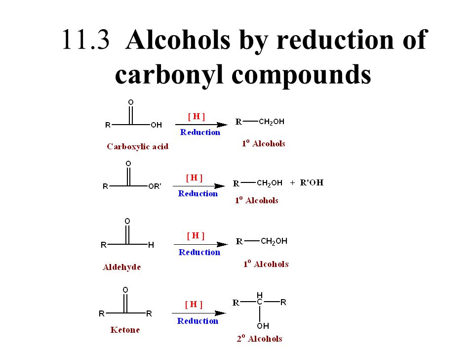 11.3 Alcohols by reduction of carbonyl compounds