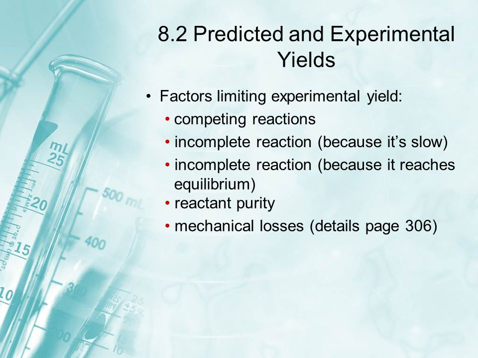 8.2 Predicted and Experimental Yields