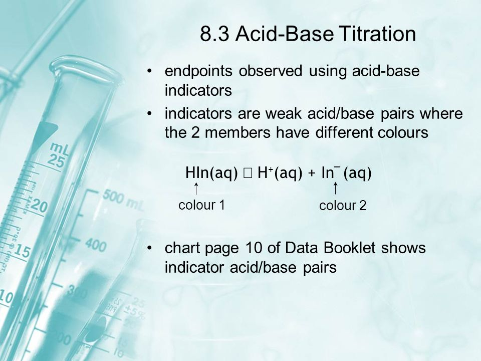 8.3 Acid-Base Titration endpoints observed using acid-base indicators