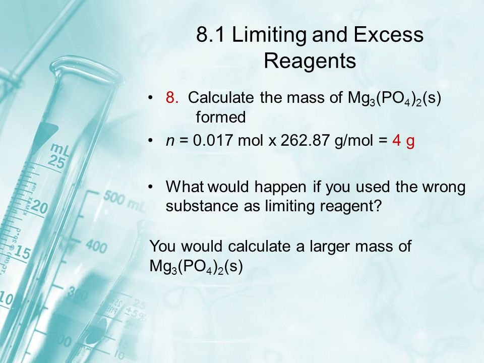 8.1 Limiting and Excess Reagents