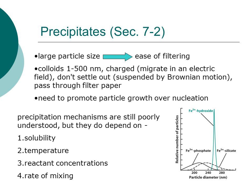 Precipitates (Sec. 7-2) large particle size ease of filtering