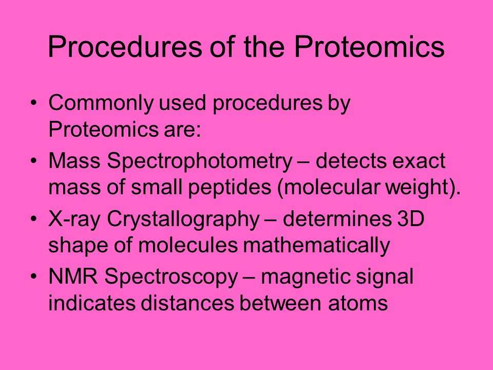 Procedures of the Proteomics