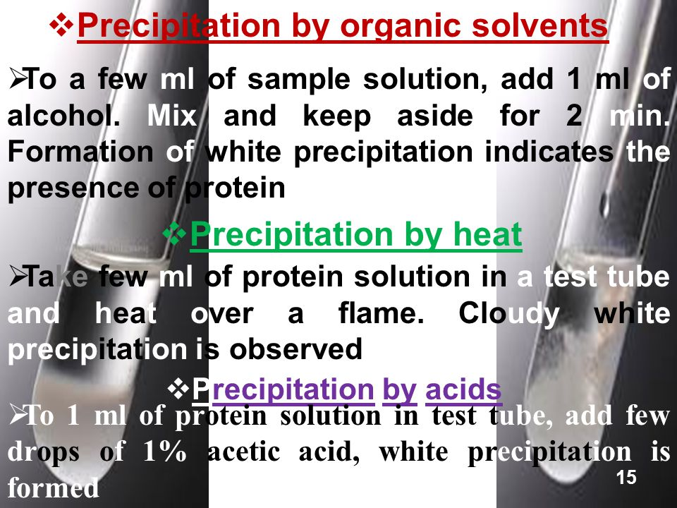 Precipitation by organic solvents