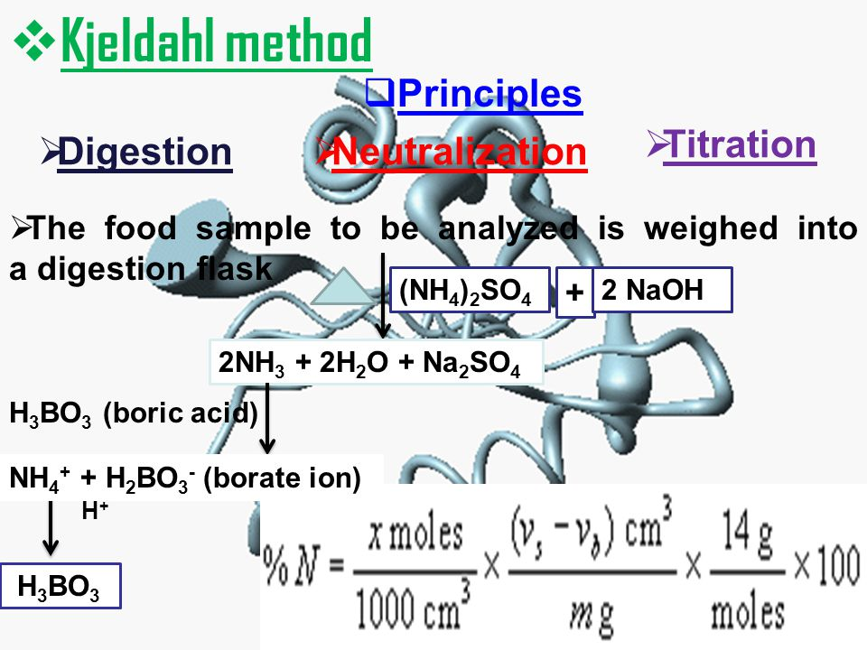 Kjeldahl method Principles Titration Digestion Neutralization