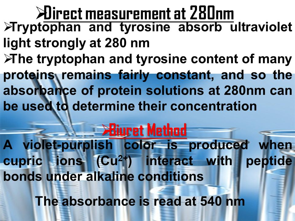 Direct measurement at 280nm