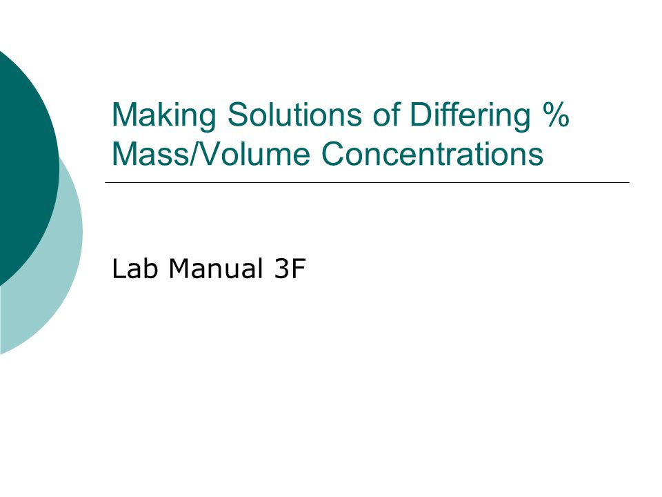 Making Solutions of Differing % Mass/Volume Concentrations