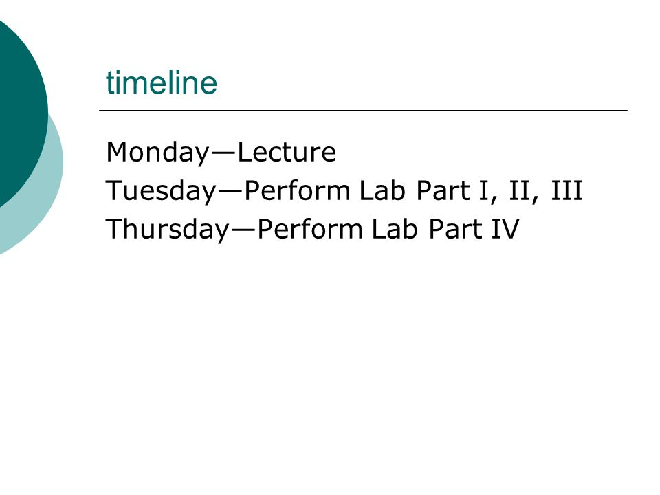 timeline Monday—Lecture Tuesday—Perform Lab Part I, II, III