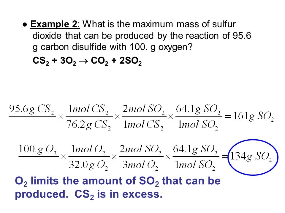 O2 limits the amount of SO2 that can be produced. CS2 is in excess.