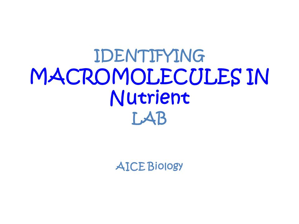 IDENTIFYING MACROMOLECULES IN Nutrient LAB
