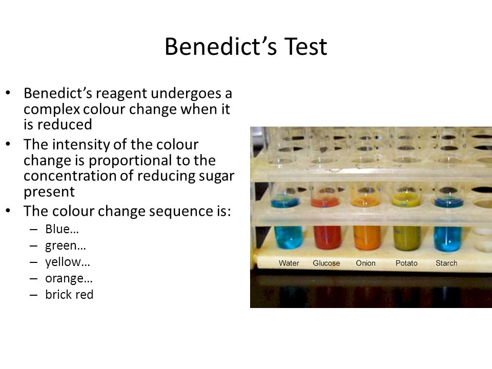 Benedict's Test Benedict's reagent undergoes a complex colour change when it is reduced.