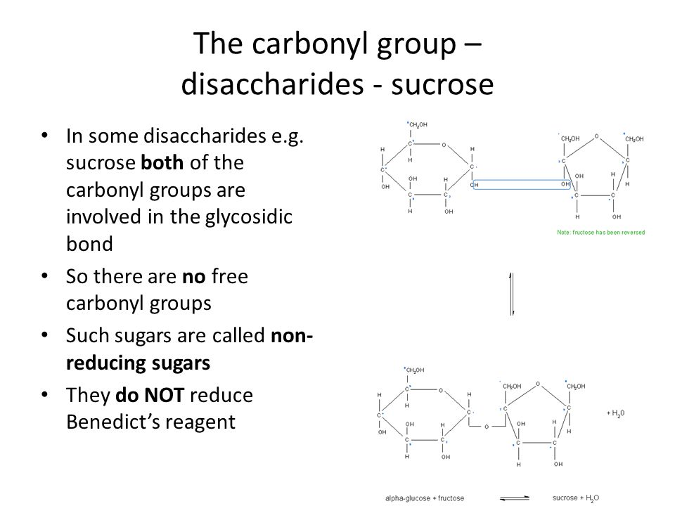 The carbonyl group – disaccharides - sucrose