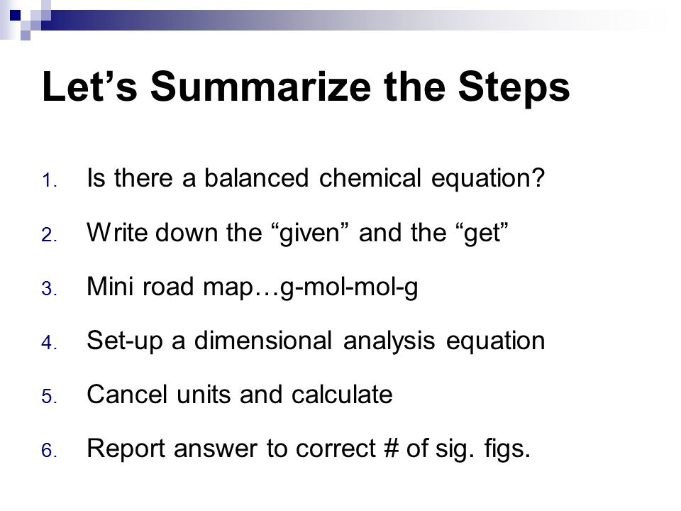 Let's Summarize the Steps
