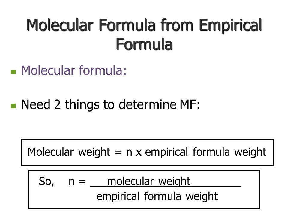 Molecular Formula from Empirical Formula