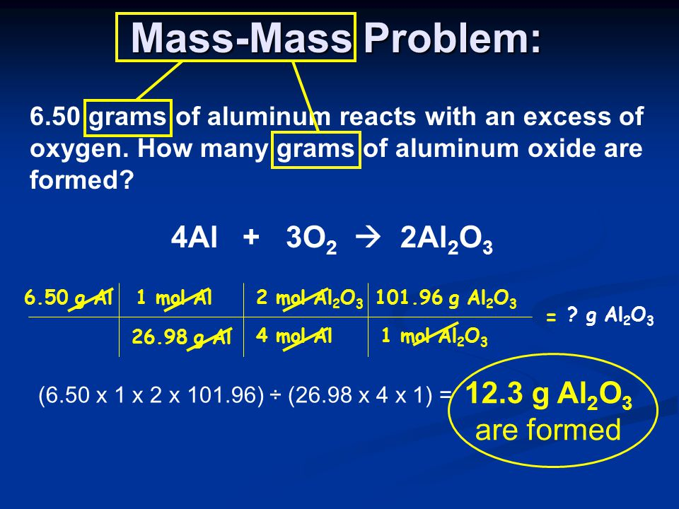 Mass-Mass Problem: 4Al + 3O2  2Al2O3 12.3 g Al2O3 are formed