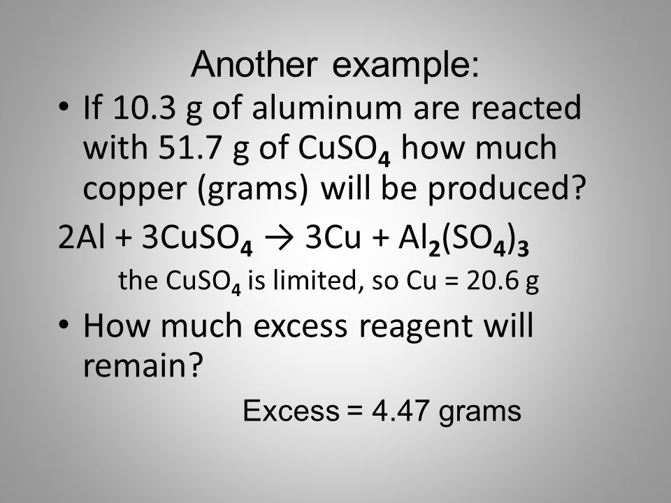 How much excess reagent will remain